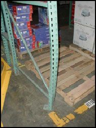 Damaged Upright in need of Pallet Rack Repair