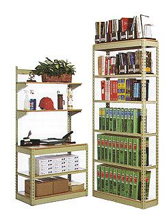 Office Work Center and Bookcase made from Steel Shelving