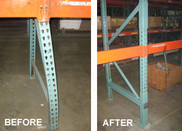 Before & After photo of repaired warehouse pallet rack