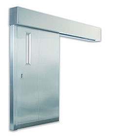 Excel 255 - Fire UL Rated - Single Sliding, Power, Stainless Steel Commercial Doors