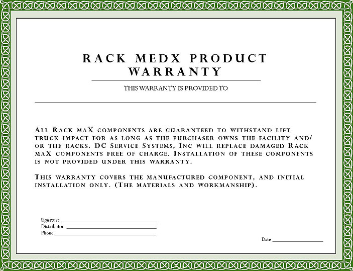 RackmedX Pallet Rack Repair Warranty